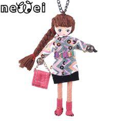 Newei Handmade Doll French Girls Statement Necklaces Cloth Long Chain Pendants 2015 News Cute Choker Girls Women Accessories