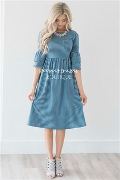 In LOVE! You will fall in love with this dress every time you put it on! Made of thick, super soft material, this flattering dusty blue and white striped dress features cute ruffle sleeves, has a front chest pocket and gathered waist. Modest Wear, Modest Dresses, Modest Outfits, Skirt Outfits, Modest Fashion, Cute Dresses, Dress Skirt, Dress Up, Fashion Outfits
