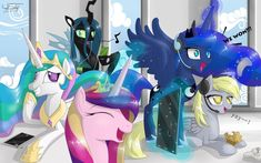 Image - Princess Celestia, Princess Luna, Princess Cadence, Derpy Hooves and Queen Chrysalis having fun background wallpaper by - My Little Pony Fan Labor Wiki My Little Pony Poster, My Lil Pony, My Little Pony Comic, My Little Pony Drawing, My Little Pony Pictures, Princess Cadence, My Little Pony Princess, Princess Celestia, Queen Chrysalis