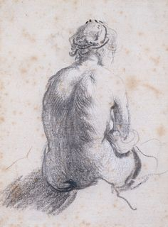 Rembrandt van Rijn: Drawings A Study of a Female Nude Seen from the Back c. Rembrandt Drawings, Rembrandt Art, Life Drawing, Painting & Drawing, Baroque Art, Dutch Painters, Dutch Artists, Leiden, Old Master