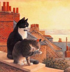 'Chesterton and Twiglet on a Cornish roof top'  by beloved British artist Lesley Anne Ivory. Painted interpretations of cats' personalities and expressions has made her one of Britain's favorite animal artists, accomplished enough to have her works hung in the Royal Academy. Her distinctive cat paintings have appeared in and on many gift items including cards, stationery, calendars, limited edition plates, and books.