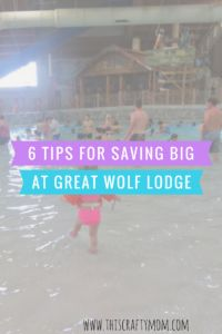Do you want to visit Great Wolf Lodge but think it's too expensive?  Here are 6 tips to saving big on a trip to Great Wolf Lodge! Click through to find out how to get the most bang for your buck!