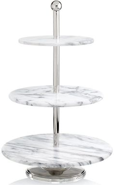 Make any dinner party a grand affair with the La Cucina server by Godinger. Crafted in beautifully textured marble and lustrous metal, the server is perfect for displaying desserts, hors d'oeuv 3 Tier Server, 3 Tier Cake Stand, Tiered Stand, Buffet Server, Kitchenware, Tableware, Cuisines Design, Kitchen Essentials, Serving Platters