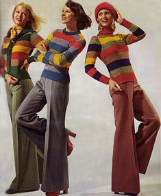 Models wearing striped sweaters and flared trousers, 1974. Save your memories http://www.saveeverystep.com