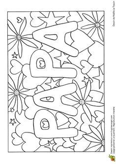 Une jolie carte avec des cœurs pour papa, dessin à colorier