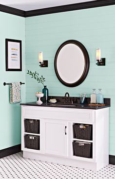 Paint gives a dated vanity a second life for far less than the cost of a new cabinet.
