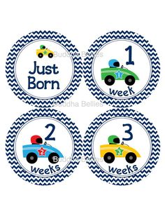 Baby Monthly Stickers - Baby Boy Racecar Nursery - Racing Baby Shower - Race Car - Newborn Stickers Just Born