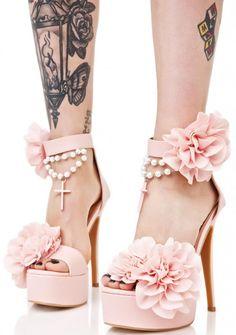 9ebc266462c1 Blush Rosary Platform Heels