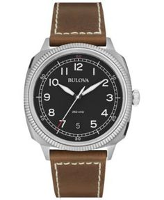Bulova Mens UHF Military Collection Watch - Black Dial - Brown Leather  Strap. G Shock f3ec24bba1