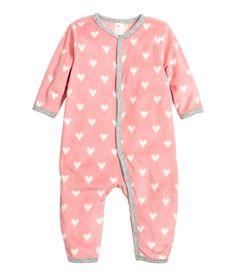 Pyjama aus Fleece | Rosa/Herzen | Kinder | H&M DE