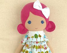 Fabric Doll Rag Doll Brown Haired  Girl in Gray Striped Top