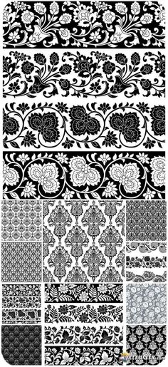 Floral borders, vector backgrounds with patterns