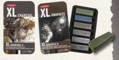 New: Derwent XL Charcoal and Graphite come in big blocks and with some supporting tools for all sorts of mark-making.