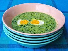 Krémová polévka z baby špenátu s vařeným vejcem. Eggs, Breakfast, Food, Drink, Baby, Fine Dining, Morning Coffee, Beverage, Essen
