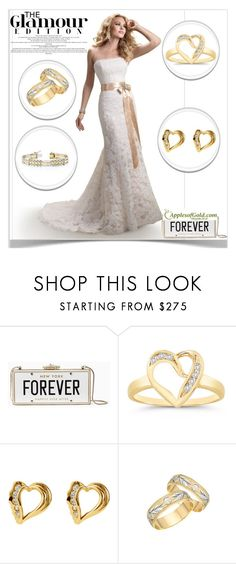 """""""Apples of Gold Jewelry – Yellow Gold Jewelry Glamour"""" by kiveric-damira ❤ liked on Polyvore featuring Maggie Sottero, Kate Spade, gold, perfect, Silver, fashionable and diamond"""
