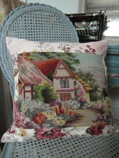 Vintage needlepoint and floral Sanderson cushion