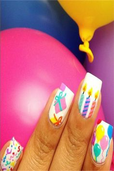 Nail Art For Your Birthday-Easy To Do YourselfIs your birthday coming back up? Well mine is, and that i started brooding about birthday party nails! Do people DO birthday nails? Birthday Nail Art, Birthday Nail Designs, Manicure, Diy Nails, Glitter Nails, Fabulous Nails, Perfect Nails, Party Nails, Nagel Gel