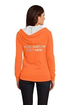 Custom Kamal Ohava Junior's Full Zip Hoodie - Any Text on Back, L, Neon Orange