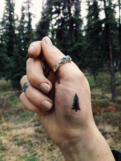 """Fresh and swollen. New pine tree tattoo I gave myself."" #tree"