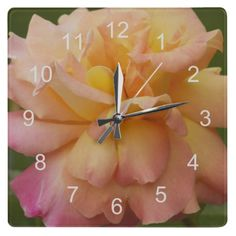 Pink and Yellow Rose Wall Clock #nature #flowers #roses #clocks