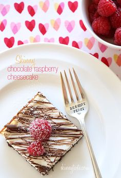 Skinny Chocolate Raspberry Cheesecake - With Valentine's Day right around the corner, you NEED to make this cheesecake! #weightwatchers
