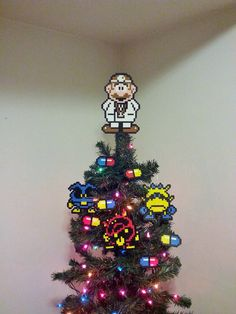 Dr Mario Perler Bead Christmas Tree Topper and Ornament Set (10 Piece) OMG