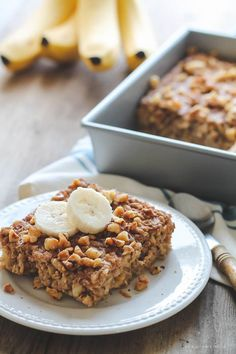 Start your morning with delicious Banana Bread Baked Oatmeal! So easy and tastes like a slice of warm banana bread! | http://LoveGrowsWild.com