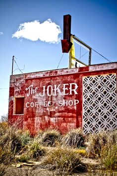 The Joker Cafe - A far West Texas Oil ghost town eatery - © robneatherlin--Penwell Texas Old Abandoned Buildings, Old Buildings, Abandoned Places, Abandoned Vehicles, Haunted Places, Joker, Beautiful Ruins, Building Signs, West Texas