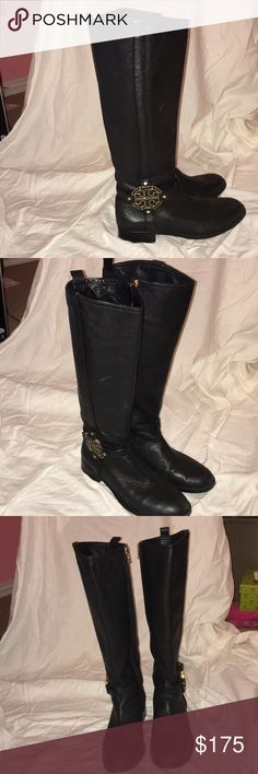 Black leather Tory Burch riding boots Tory Burch leather Amanda Riding Boot in Tumbled Valencia. Lightly worn. Tory Burch Shoes Winter & Rain Boots