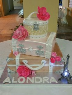 Suitcase Paris Cake