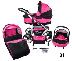 HUBI Baby Pram Pushchair Travel System with Car Seat 3in1 or 2in1 - PINK