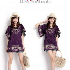 New 2013 Free Shipping Vintage 70s mexican Ethnic Floral EMBROIDERED Hippie Blouse DRESS Women Clothing Vestidos S M L Plus Size $47.49