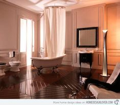 20 Luxurious and Comfortable Classic Bathroom Designs - House and Decoration Tuscan Bathroom, Wood Floor Bathroom, Bathroom Wall Panels, Bathroom Faucets, Classic Small Bathrooms, Classic Bathroom, Modern Bathroom, Master Bathrooms, Minimalist Bathroom Design