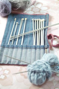 Smitten with it all...: *Tutorial* - Upcycled Knitting Needle Case From Old Jeans and Shrunk Jumper!