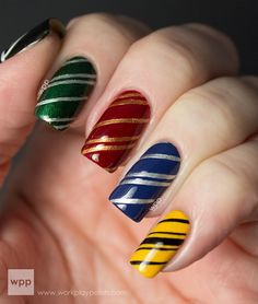 Work play polish - Harry Potter Houses of Hogwarts Nail Art Nail Design, Nail Art, Nail Salon, Irvine, Newport Beach