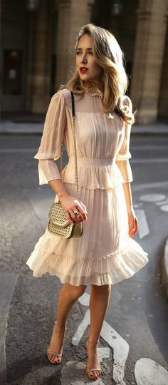 30 Dresses in 30 Days | Day 14: What to Wear to a Baptism // Light nude apricot ruffle flounce trim long sleeve short dress, tan metallic woven shoulder bag, nude strappy open toe sandal heels {See by Chloe, Stuart Weitzman, Stella McCartney, classic styl