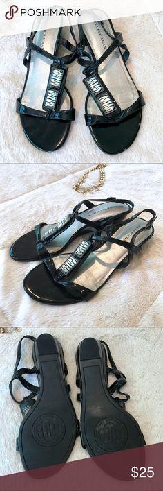 💜 Zebra Strappy Sandal 💜 EUC/Worn Maybe once. Zebra Strappy Sandals. Slight wedge heel. Dana Buchman Shoes Sandals