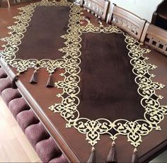 Motifs Islamiques, Fancy Wedding Dresses, Home Room Design, Islamic Art, Svg Cuts, Table Runners, Animal Print Rug, Embroidery Patterns, Diy And Crafts