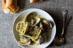 Drunken Clams with Sausage - seafood contest winner on Food52 - This sounds like it might be perfect for an anniversary dinner.  (And reviewers all said that leftovers were even better the next day).