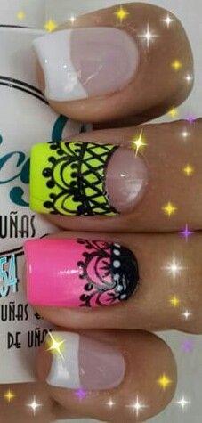 Nails Lace Nail Design, Cute Nail Art Designs, Nails & Co, Get Nails, Lace Nails, Nail Time, Crazy Nails, Acrylic Nail Art, Nailart
