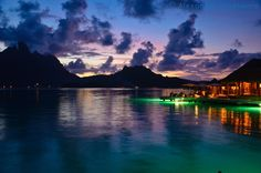 This is Mount Otemanu at Dusk in Bora Bora, French Polynesia.  Other  than some slight sharpening, this is as taken on my camera, that is how beautiful it is there!