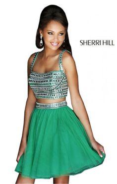 2014 A-Line Emerald Sherri Hill 11060 Chiffon Party Dress - $178.00 : 2014 Prom Dresses Online Sale,Cheap Sherri Hill Dresses