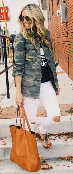 #summer #outfits  Army Jacket + Black Printed Top + White Ripped Skinny Jeans + Camel Tote Bag