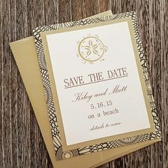 Save the date with these beautiful champagnium #invitations with a hand-embossed #sanddollar in gold. More at @idobliss!