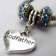 Godfather European Heart Birthstone Trio For Large Hole Charm Bracelet