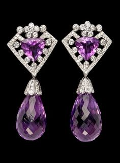 Diamond Jewelry EARRINGS, brilliant cut diamonds, cts, with hanging briolette cut amethysts. Purple Jewelry, Amethyst Jewelry, Amethyst Earrings, Gems Jewelry, Diamond Jewelry, Gemstone Jewelry, Jewelry Box, Diamond Earrings, Jewelry Accessories