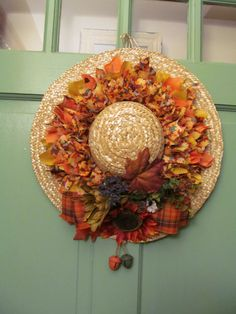 Fall Wreath made on a 18 Strawhat by DoorDecorDesigns on Etsy, $45.00