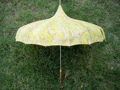 Vintage 1950s Poodle Handle Pagoda Style Umbrella