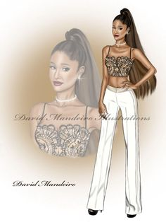 Arianna Grande in Alexander McQueen at American Music Awards by David Mandeiro Illustrations Dress Design Sketches, Fashion Design Sketchbook, Fashion Design Drawings, Fashion Sketches, Fashion Illustration Dresses, Fashion Illustrations, Fashion Figure Drawing, Fashion Art, Fashion Outfits