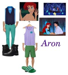 """""""Aron-Gender Bent Ariel-The Little Mermaid"""" by silverbellatrix ❤ liked on Polyvore featuring Disney, The North Face, IMPERIAL MOTION, Ben Sherman, Aquatalia by Marvin K., Van Heusen, Gucci, River Island, adidas and men's fashion"""
